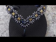 como fazer chinelo havaiana bordado em renda francesa - YouTube