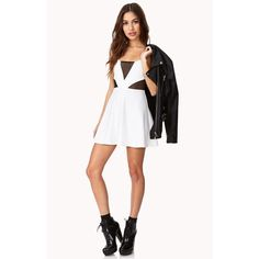 White & Mesh Dress White spaghetti strap dress with mesh panels on chest and sides. Forever 21 Dresses Mini