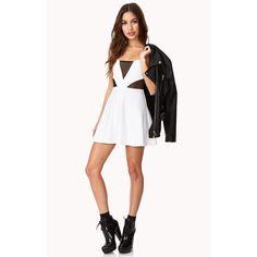 White & Mesh Dress White spaghetti strap dress with mesh panels on chest and sides. Forever 21 Dresses Mini