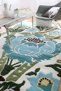Nice rug... blues and greens against the white with a touch of black and yellow beige ... nice!