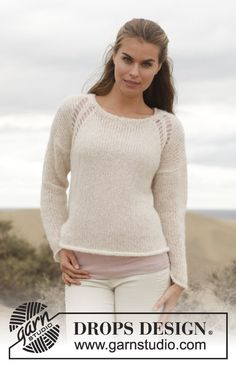 "Strikket DROPS genser i ""Brushed Alpaca Silk"" med hullmønster. Str S - XXXL. ~ DROPS Design 12 m pinne 8"