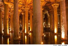 Basilica Cistern - A stone's throw from the Hagia Sofia (and a couple stories down, underground) lies one of the most impressive wonders of Istanbul.Built sometime around 6th century CE, the structure was a large basilica involved in commerce and the arts. It was later converted to a cistern during Emperor Justinian's reign to store water for the palace - capable of holding almost 21 million gallons of water.