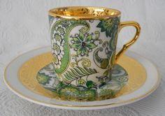 CP Limoges demitasse cup green paisley gold trim #CPLimoges