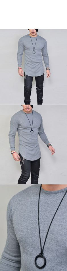 Ribbed Cotton Easy Slim Long Round-Tee 826 by Guylook.com Great quality ribbed cotton with excellent flexibility Easy fit yet flattering slim silhouette Super versatile & comfy basic layering element Machine-wash cold. Hang-dry in the shade