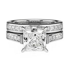 Diamonvita Couture® 2 1/2 ct. tw. Swarovski Zirconia Princess Cut Bridal Set in Sterling Silver available at #HelzbergDiamonds