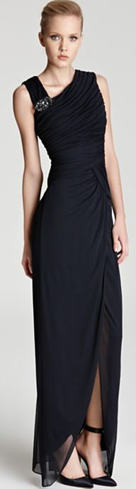 Adrianna Papell Gown - Asymmetric Neck