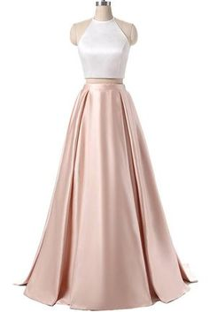 Elegant halter satin prom dress, two pieces prom dress