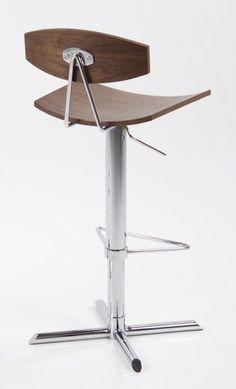 Design Barhocker höhenverstellbar, Retro Barstuhl aus Holz Walnuss / Chrom Gestell Küche & Esszimmer Stühle & Bänke Barstühle