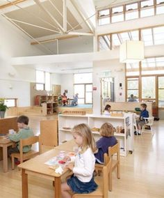 Marin Montessori School features the Montessori ethic of providing plenty of space and scaled furniture and zones for a number of activities for the children.