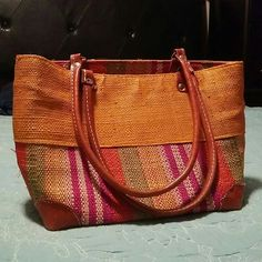 Orange bag with leather handles Barely used almost new Bags Shoulder Bags