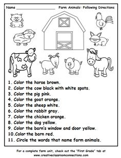 Farm Animals Following Directions worksheet provides practice with color words and the names of farm animals. Find a complete Farm Unit at…