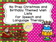 No Prep Christmas and Birthday Themed Wish Lists for Speec