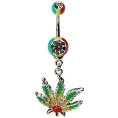 Dangling Rasta Marijuana Belly Ring yaaassss! this is the exact one i want (when i get my bellybutton pierced). now i need to find it