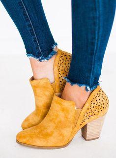 d7bbebc885f1 Chloe Back Detailed Bootie Mustard - Lucy Avenue 3 Inch Heels