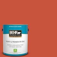 BEHR Premium Plus 1-gal. #bic-31 Fire Coral Satin Enamel Interior Paint