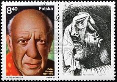 POLAND - CIRCA 1981: A stamp printed by Poland shows portrait of famous artist Pablo Picasso, with label showing picture  Stock Photo