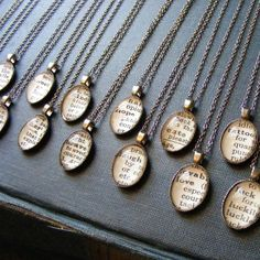Dictionary necklaces...find a word that describes the recipient & frame it. A unique and personal gift idea! Could also do this with scripture verses.