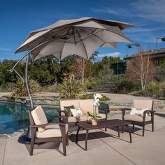 Christopher Knight Home Lotus Banana Sun Canopy with Base - Overstock™ Shopping - Big Discounts on Christopher Knight Home Patio Umbrellas Sun Canopy, Patio Canopy, Folding Canopy, Cantilever Patio Umbrella, Garden Equipment, Outside Living, Patio Umbrellas, Innovation Design, Neutral Colors