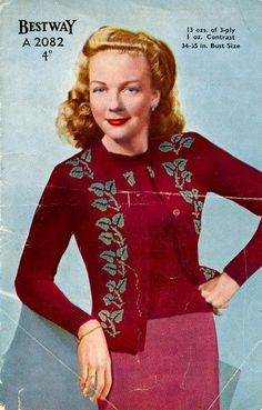 PDF Knitting Pattern for 1940s Vyne or Vine by place4patterns, £2.00