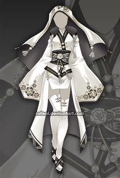 By Rofeal on deviantart. Cosplay Outfits, Anime Outfits, Cool Outfits, Dress Drawing, Drawing Clothes, Fashion Design Drawings, Fashion Sketches, Hero Costumes, Anime Dress