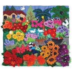 Gardening. Arpilleras art quilt