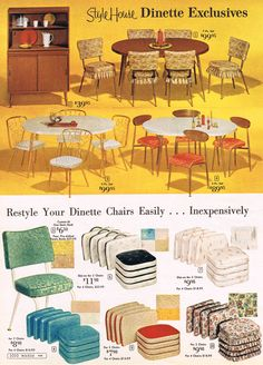 Wards' dinette sets and chair cushions, 1964