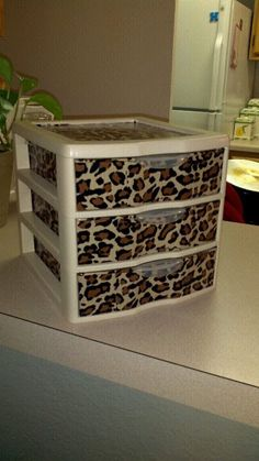 Three Drawer Plastic Organizer  Leopard Pattern by DIvyShabbyChic, $15.00 Too cute!