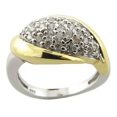 925 Sterling Silver with 18k gold plate and Cubic Zirconia Ring