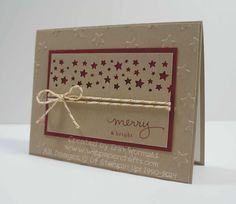 A Christmas card created using the Confetti Stars punch and Endless Wishes from Stampin' Up. From www.wippapercrafts.com.