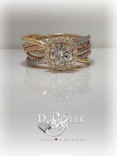 Custom Six-Band, Tri-Gold Wrapped Engagement Ring.   Six bands compose this custom halo engagement ring!
