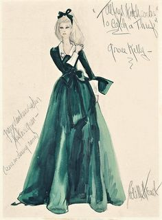 Edith Head sketch for Grace Kelly -'To Catch a Thief,' 1955.