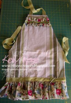 Kelly Rose, Independent Stampin' Up! Demonstrator: Stampin' Up! Springtime Vintage fabric ruffles on a tea towel apron