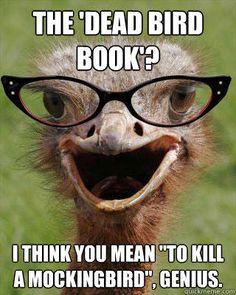 "The 'dead bird book'? I think you mean ""To Kill A Mockingbird"", genius."