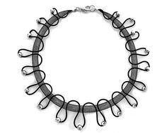 Black mesh tube & silicone unique handmade necklace  by tamiperetz
