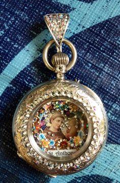 Saint Anthony micro mosaic inside vintage ladies pocket watch by Tracey Davis.