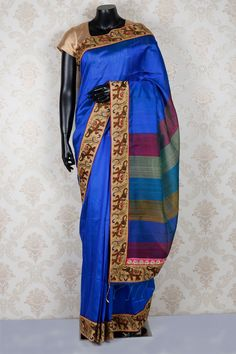 #Royal #blue pure #tussar #silk amazing saree with beige & brown border-SR13868