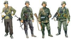 Artwork by Ron Volstad. The three SS soldiers are beautifully rendered. Note the runes are missing from the collar tabs due to commercial purposes, not because he forgot to include them. Also, stone gray trousers on the early war soldier!