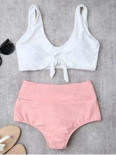 Knotted High Waisted Ruched Bikini Set - PINK M