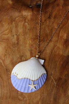 Peaches By The Sea- Hand painted shell pendant necklace