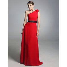 Chiffon Elastic Satin Column One Shoulder Floor-length Evening Dress inspired by Amy Poehler at Golden Globe – US$ 116.99