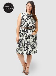 Mia Waisted Shirt Dress In Black Floral