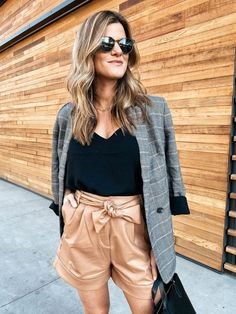Fall Trends I'm Excited About Plaid Blazer Leather Shorts Booties #falltrends #fallstyle #plaid