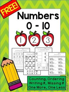 """Ten different worksheets to practice with numbers 0 - 10 on back to school themed pages. A handwriting 0 - 10 page, ordering cut and paste, 0 - 5 and 5 - 10 picture number match cut and paste, two versions each of missing numbers, two versions of """"one more"""" worksheets, and two versions of """"one less"""" worksheets."""