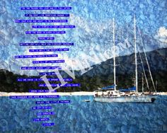 """""""Sailboat LIVIN"""". LIVIN® mixed media artwork. Available in gallery quality (high-resolution) prints and canvas wraps."""