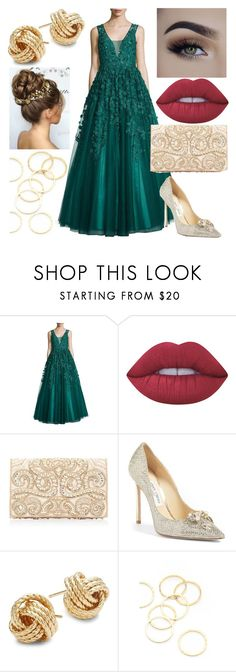 """""""Untitled #295"""" by yovgb ❤ liked on Polyvore featuring BASIX BLACK LABEL, Lime Crime, Forever New, Jimmy Choo, Saks Fifth Avenue and A.V. Max"""
