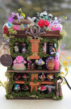 Dollhouse Miniature Fairy Sweets Cabinet (pinned for reference only - adorable idea for fairy house and fairy garden)