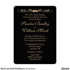Black and Gold Wedding Card
