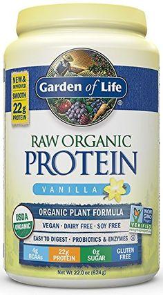 Garden of Life Protein Powder - Organic Raw Protein Shake with Vitamins and Probiotics Sugar Free Vanilla Vegan Gluten-Free 22oz (624g) Powder