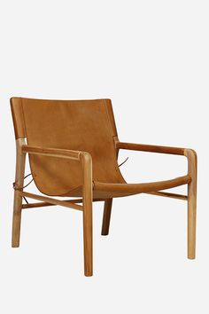 Leather Sling Chair - Teak & Tan