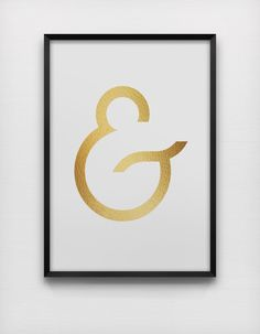 Faux Gold Ampersand Print Feminine Print Modern Decor And Sign Graphic Design Wall Art Digital Download 8X10